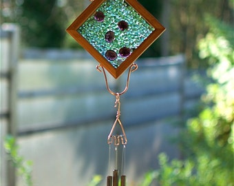 Glass, Cedar, Copper, Antiqued Brass Wind Chime Suncatcher