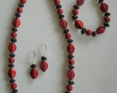 Red and Black Necklace, Bracelet, Earrings
