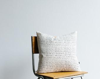 Monochrome Cushion cover  'Dashes' screen printed black ink on organic cotton/hemp fabric