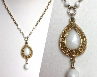 Vintage White and Gold Necklace, Ornate Gold Teardrop Pendant, Faceted Czech Glass Bead in Bright White, Gold Chain with Tiny White Beads