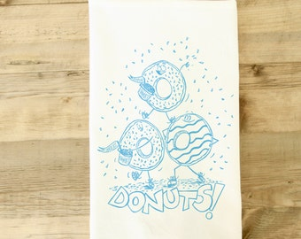 Donuts Blue Tea Towel dish towel retro donut sprinkles blue kitchen theme gift