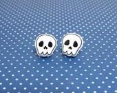 Cute Skull Clay Sterling Silver Stud Earrings