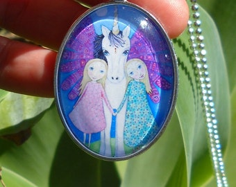 Winged Unicorn Necklace Blonde Twins and Unicorn pendant Jewelry Jewellery Gift for Little Girl Best Friends Necklace Whimsical Folk Art