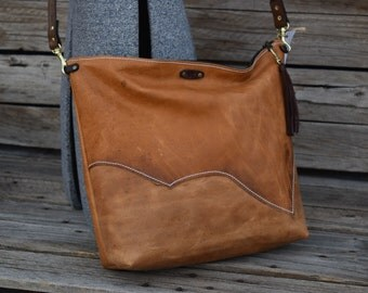 Tan Leather CrossBody Purse / Bucket Bag / Leather Bag / Feral Empire