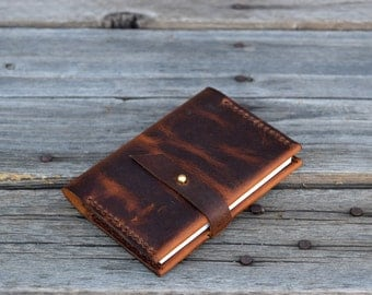 Small Pocket Notebook /  Leather Journal / 4.5 X 3.25 lined notepad / Pocket Journal / Refillable Journal