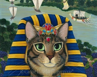 Egyptian Pharaoh Cat Bastet Art Egypt Mau Cat Bast Tarot King of Pentacles Cat Art Limited Edition Canvas Print 11x14 Cat Lover