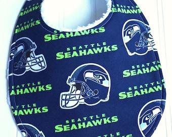 Seattle Seahawks Baby Bib, Seattle Seahawks Baby Shower, Gender Neutral Baby Bib, Triple Layer Chenille, football bib, NFL SEATTLE SEAHAWKS