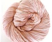 buff / hand dyed yarn / sparkle sock dk yarn / merino wool yarn / glitter yarn / metallic yarn / stellina fiber / pale peach color yarn