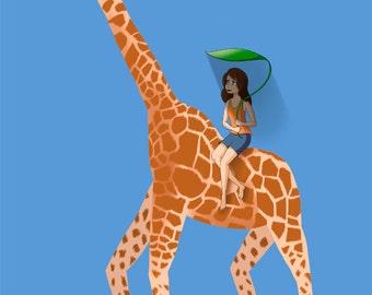 Girl Riding Giraffe - Animal Art Print - Giraffe Art Print - 11x17 Original From the Artist