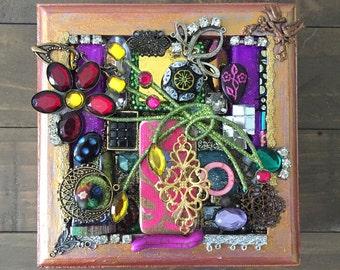 Upcycled Found Object Mosaic God Box