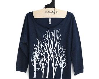 Large - Dark Navy Sweatshirt Cut Neck Raglan 3/4 Sleeve Womens Top with Branch Trees Screen print SALE