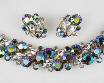 Vintage Juliana Black Diamond Aurora Borealis Rhinestone Bracelet Earrings Demi Parure D & E DeLizza Elster Vintage Jewelry