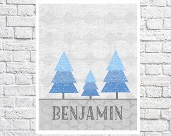 Trees Art Personalized Baby Boy Name Nursery Wall Art Personalized Baby Gift Blue And Grey Baby Nursery Decor Picture Woodland Nursery Print