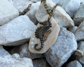 Seahorse Necklace - Real Seashell Pendant - Beach Jewelry