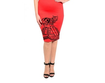 Womens Cat Skirt Plus Size clothing Cats and books Dress Retro Style Cute Pencil Skirts Pin Up Girl Kitty Dresses Animal Prints Book lovers