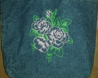 Embroidered Denim Tote