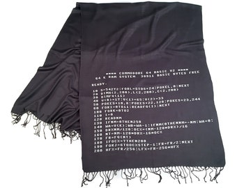 BASIC Code Scarf. Commodore 64 computer code linen-weave pashmina. White on charcoal grey. Retro computing gift. For women or for men.