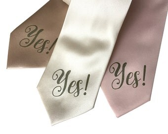 Yes Print Necktie. Engagement necktie & wedding tie. Silkscreen text / typography print. Ballet pink, cream, champagne and more.