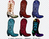 Cowboy Boots Clip Art, Cowgirl Boots Clip Art, Cliparts, PNG Clip Art, Boots Clip Art, Digital Download, Digital Scrapbooking Elements, Art