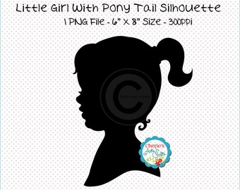 Instant Download, Little Girl Silhouette, PNG Graphics, Digital Images, Digital Download Clip Art