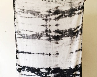 Black and White Hand Dyed Rayon Wrap in Carerra, Anna Joyce, Portland, Oregon