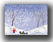 ACEO watercolor KIDS playing in winter snow original painting SFA miniature  dollhouse mini