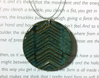 Chevron Ceramic Clay Pendant in Midnight Sea Blue with Wire Necklace Mid Round