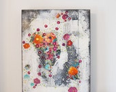 Flower Painting, Original Abstract Painting  , Floral Wall Art , Painting on Canvas , Mixed Media Collage Painting