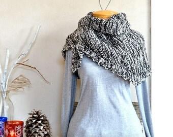 Hand Knit Shawl Darkest Brown & White / Scarf Alpaca Merino Wool Blend Natural Undyed