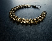 derailed - vintage brass boxed link chain - mens womens unisex jewelry  - art deco architecture inspired jewelry