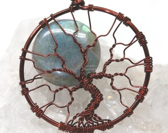 Blue Labradorite Tree-of-Life Pendant Full Moon Green Blue Flash Wire Wrapped Jewelry Celestial Silver Necklace Wire Tree Luxury Gemstone