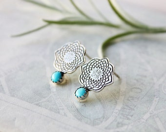 Turquoise Earrings, sterling silver post earrings, blue semiprecious etched moroccan sacred geometry jewelry