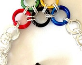 Rio 2016 Olympic Rings Bracelets - Helm Weave Chain Mail