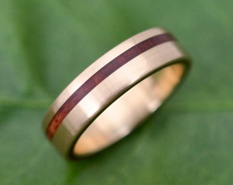 Size 6.5 READY TO SHIP Yellow Gold Equinox Guapinol Wood Ring - ecofriendly recycled yellow gold wood wedding band, gold wedding ring