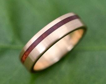 Size 7.5 READY TO SHIP Yellow Gold Equinox Guapinol Wood Ring - ecofriendly recycled yellow gold wood wedding band, gold wedding ring