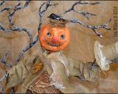 Spun Cotton Halloween Pumpkin Scarecrow Holding Top Hat with Bird Nest on Head OOAK Folk Art