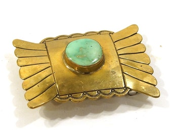 Signed R Platero Navajo Belt Buckile / Vintage 1970s RARE Gold Tone Small Buckle with Turquose Stone by Ramone Platero