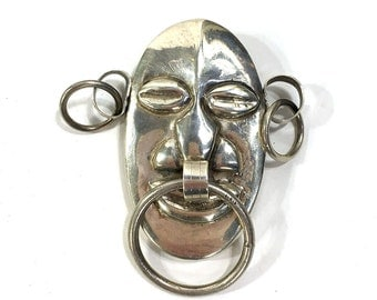 1940s Sterling Warrior Mask Brooch / Vintage Taxaco Silver Face Pin / Ethnic Tribal Large Mexican Silver Jewelry