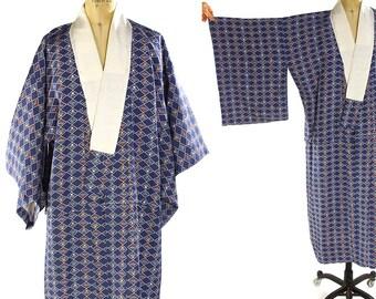 Tiny Plums Kimono / Vintage 1960s Fruit in Diamonds Pattern Bohemian Duster