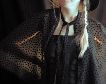 BLACK MOON cape polkadot velvet flocked chiffon elbow length 1930s style