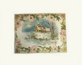Large Victorian Embossed Card Winter Cabin Scene with Pink Flowers Vintage Greeting