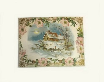 Large Victorian Embossed Card, Winter Cabin Scene with Pink Flowers, Vintage Greeting