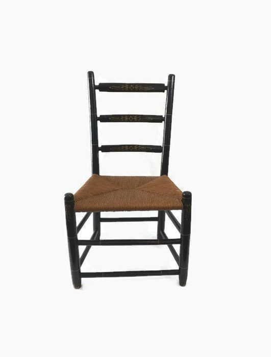 Vintage Child S Ladder Back Chair With Rush Seat Black
