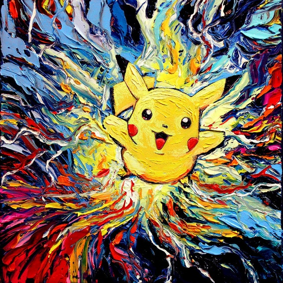 Pikachu painting pokemon art starry night cute abstract for Cute abstract art