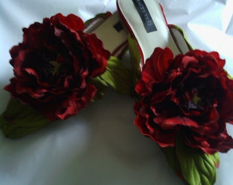 Red Peony Bloom Shoe Clips