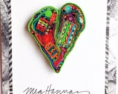 Wearable Art Jewelry//heart pin brooch//Recycled Textile Artwork//Electric Lime and Orange//Meg Hannan//FABRIC JEWELS//repurposed fiber art