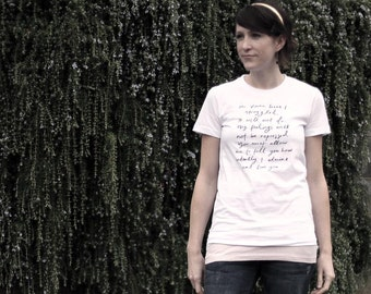 SALE - SMALL - Last in stock - Mr. Darcy Proposal organic t shirt - or you choose print