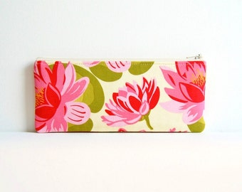 Zipper Pouch Organizer, Cosmetic Case, Makeup Bag, Women and Teens, Blush Water Lily, Sandi Henderson Ginger Blossom