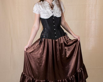 Steampunk Brown Satin Ruffle Skirt - Halloween Costume - Long Skirt - Renaissance Garb - Victorian Clothing - Steam punk Costume