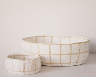 Large Plaster Grid Basket